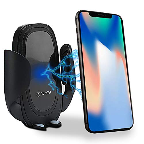 RareTel Car Phone Wireless Charger - Compatible with iPhone X XS XS Max XR 8 Plus - Samsung Galaxy S9 S9+ S10 S10+ Note 9 - QI Enabled No Slip Side Pad & Strong Bracket - Cable & Accessories Included