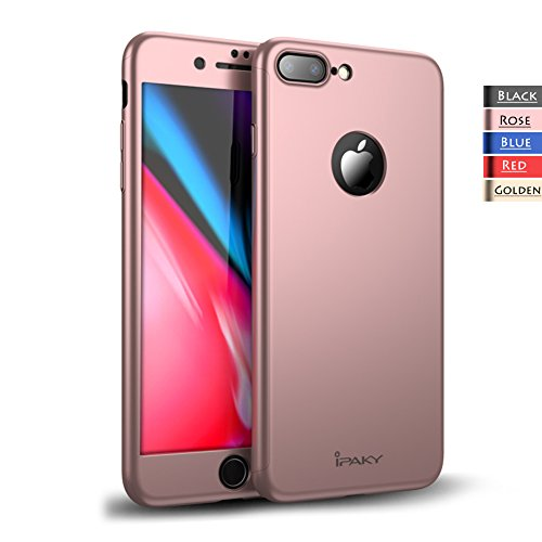 Rebex iPhone 8 Plus Case iPaky 360 Degree All-Around Protective Cover Thin Slim Fit [Non-Slip] Dual Layer Hard Case with Tempered Glass Screen Protector for iPhone 8 Plus (Rose Gold)