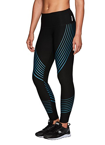 Black Metallic Stripe (RBX Active Women's Contour Stripe Athletic Leggings Black with Blue Metallic M)