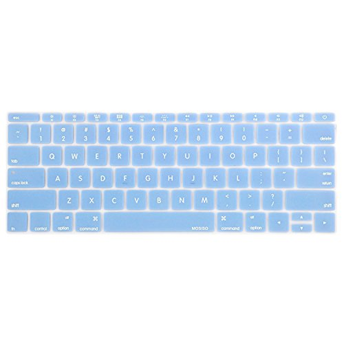 MOSISO Silicone Keyboard Cover Protective Skin Compatible with MacBook Pro 13 inch 2017 & 2016 Release A1708 Without Touch Bar, MacBook 12 inch A1534, Airy Blue