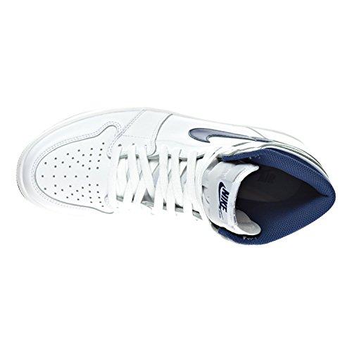 Nike Men's Air Jordan 1 Retro High Og Basketball Shoes White, Midnight Navy