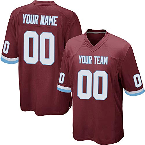 - Custom Youth Red Mesh Football Jersey for Kids Swen Team Name and Your Numbers,White-Light Blue Size M