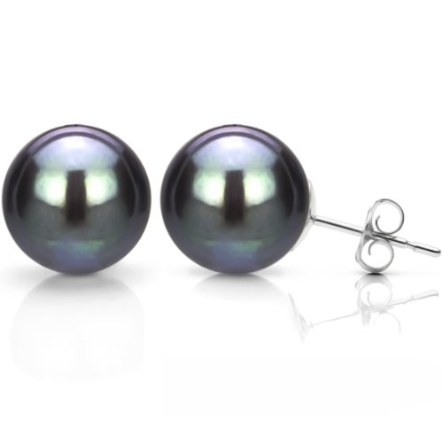 - 14K White Gold Studs Black Cultured Freshwater Pearl Earrings Bridal Jewelry 10-10.5mm