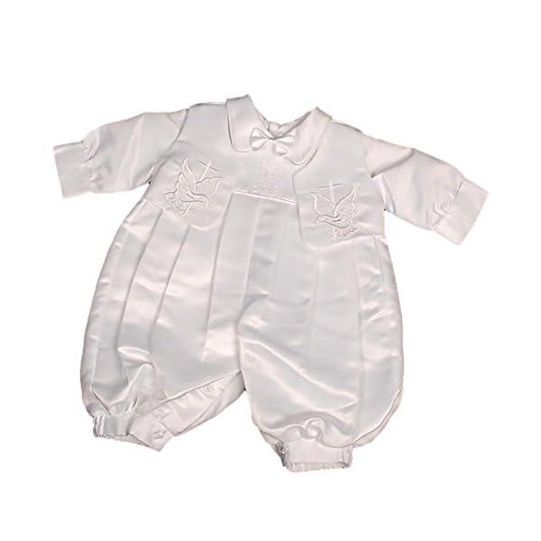Lito Angels - Pagliaccetto per battesimo/battesimo ricamato in raso, con cappello, taglia 0-18 mesi ST007 1