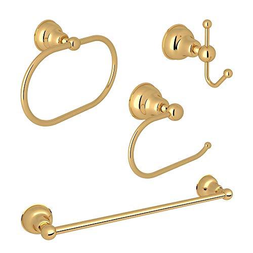 Rohl KA-CIS-4-IB Arcana 4-Piece Bathroom Accessory Kit, Italian Brass