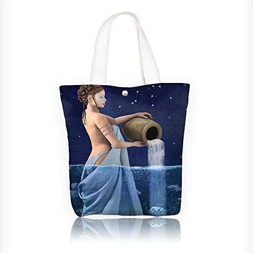 Canvas Tote Handbag Aquarius Lady With Pail In The Sea Water Signs Saturn Mystry Shoulder Bag Purses For Men And Women Shopping Tote W16.5xH14xD7 INCH