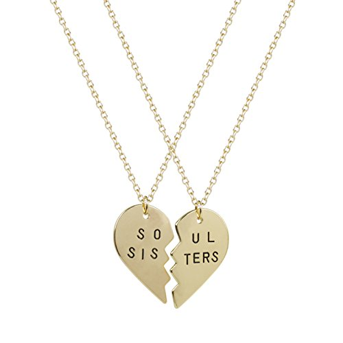 Lux Accessories Best Friends BFF Forever Soul Sisters Valentine Heart Necklaces (2 PC)