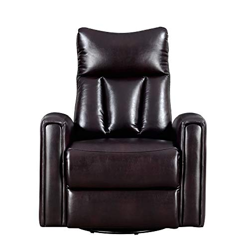 Anders Swivel Reclining Glider in Coffee with Faux Leather Upholstery And Swivel Recliner, by Artum Hill - Leather Like Glider Recliner