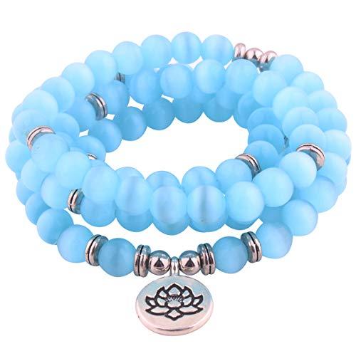 GVUSMIL 8mm Mala Amazonite 108 Beads Necklace for Yoga Buddhist Rosary Prayer Charm Bracelet Made by Natural Gemstone Agate Jade for Women Men (Sky Blue Cat Eye)]()