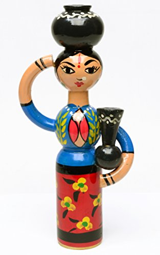 """Painted Wood Carving Lady Figurine 8""""Ht India Folk Craft Decor Gift Green Yellow (Blue, Red)"""
