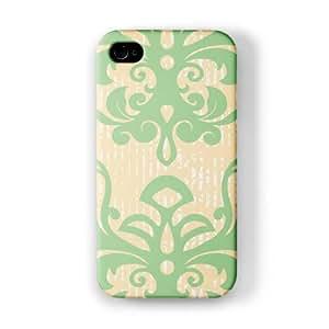 Damask - Green & Yellow Funda Completa de Alta Calidad con Impresión 3D, Snap-On, Diseño Negro Formato Duro parar Apple® iPhone 4 / 4s de Gadget Glamour