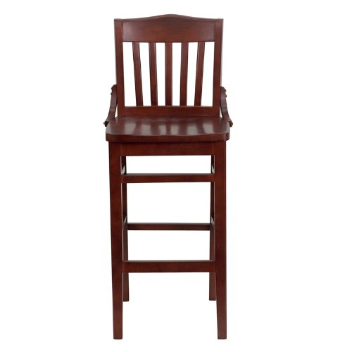 Flash Furniture 2-Pack Hercules Series School House Back Wooden Restaurant Bar Stool, Mahogany Finished