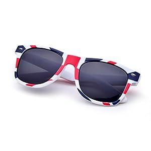 REINDEAR Premium Unisex Patriotic Flag Wayfarer Style Sunglasses (British Flag)