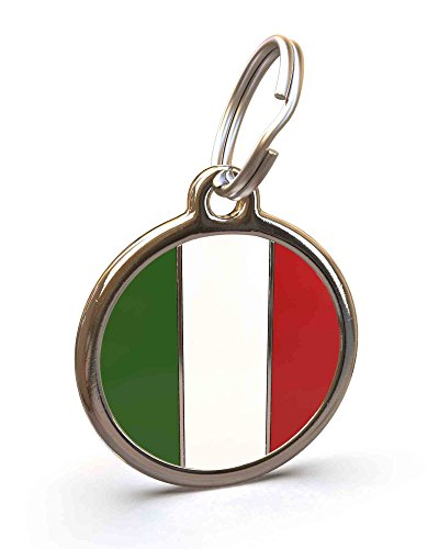(UNLEASHED.DOG Customizable Engraved Cat/Dog ID Tag - Stainless Steel with Italian Flag Enamel Inlay - Small)