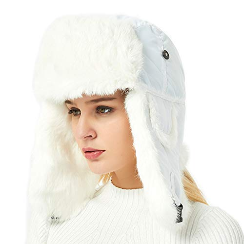 IKEPOD Aviator Russian Ushanka Winter Hunting Ear Flap Rabbit Fur Trapper Hat