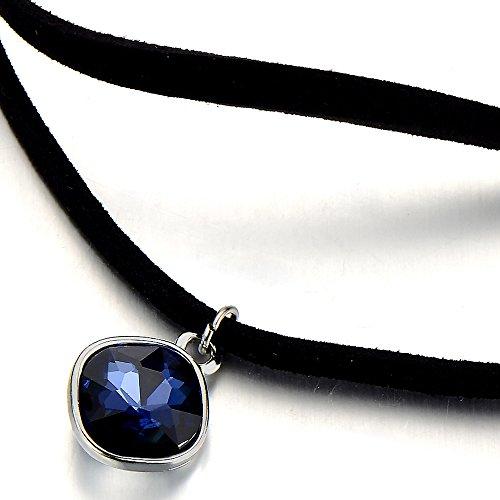 Ladies Black Choker Necklace Crystal