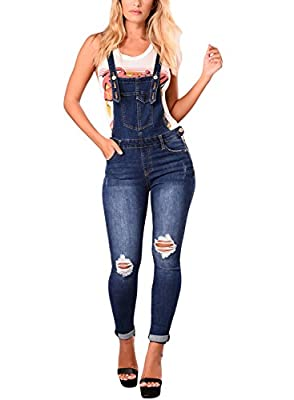 Sidefeel Women Distressed Bib Overall Skinny Ripped Denim Jumpsuit