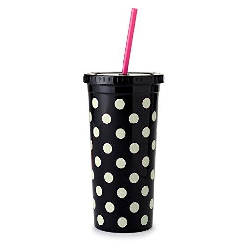Dots Tumbler (Kate Spade New York Tumbler with Straw, Le Pavilion (Black Dots))
