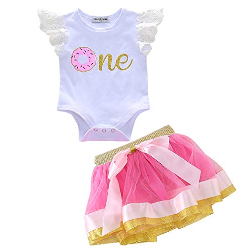CANDYEEMMA First Birthday Outfit Girl Romper Skirt Donut One Baby Bodysuit Pink Tutu (80, -