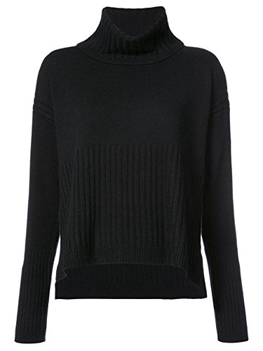 Women's Cashmere Turtleneck Sweater With Rib Detail (Rib Turtleneck)