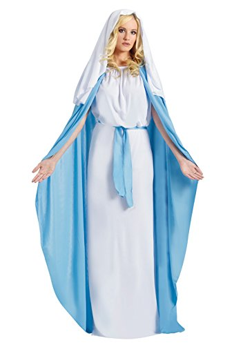 Fun World Costumes Women's Adult Mary Costume, White/Blue, One (Mary Christmas Costume)