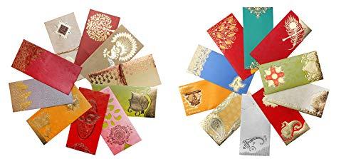 AVADOR Premium Shagun Gift Envelope (Pack of 20) Assorted Color Designs Money Holder Card Fancy Packet for Christmas Diwali Rakhi Easter Birthday Wedding Anniversary Designer Invitation Envelopes