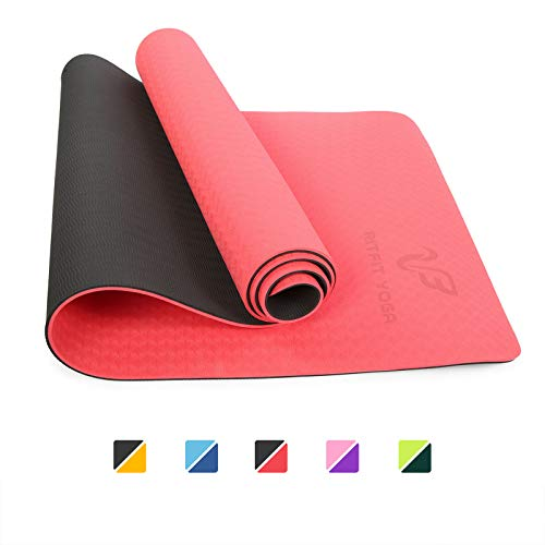 RitFit Thick Eco-Friendly TPE Yoga Mat – Non Slip, High-Density, Two-Sided Mat for Fitness Yoga Pilates – with Free Yoga Strap, Carrying String and Bag – 72 x24 , 6mm