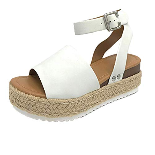 (JJLIKER Women Suede Chunky Platform Wedges Sandals Ankle Buckle Strap Espadrille Shoes Summer Fashion Non-Slip Pumps White)