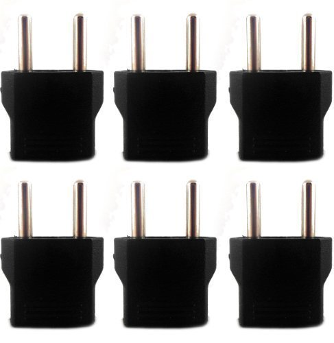 ACUPWR IR5F2-6 USA to India Plug Adapters, 6 Piece (5 mm Two Pin Non Grounding)