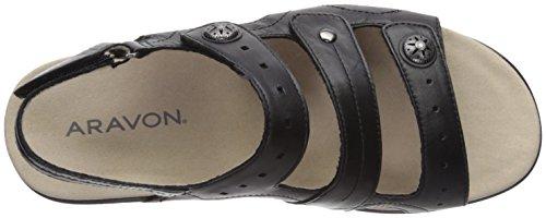 Aravon Three Leather Black WoMen Strap Pc Sandal Black rExr0qUw