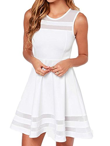 Tengfu Women's Sweet Elegent Sleeveless Sheer Mesh Slim Flare Party Dress White, 4 (Pretty Dresses For Teens)