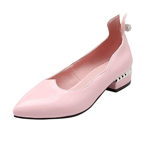 Mee Shoes Damen süß modern populär Lackleder spitz mit Strass Geschlossen Niedrig dicker Absatz Pumps Pink