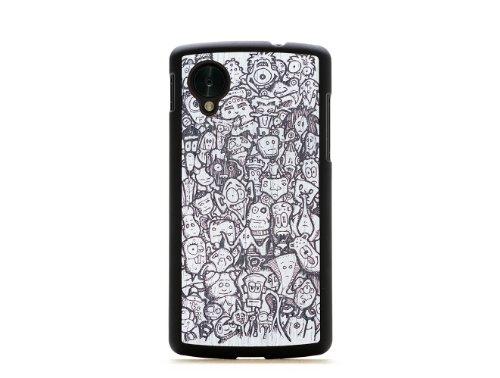 CARVED Matte Black Wood Case for Google Nexus 5 - Monochrome Misfits (N5-BC1M-PE-MSFT)