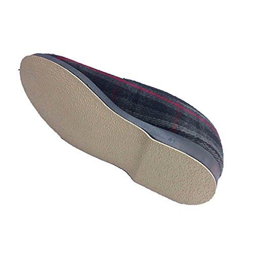 Zapatilla invierno hombre de paño con borreguito de lana Soca en gris