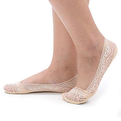 Women's 4 Pairs Low Cut Lace No Show Liner Socks Cotton Bottom Non Slip (Beige)