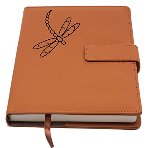 refillable-writing-journal-faux-leather-cover-magnetic-clasp-pen-loop-embossed-dragonfly-design-200-