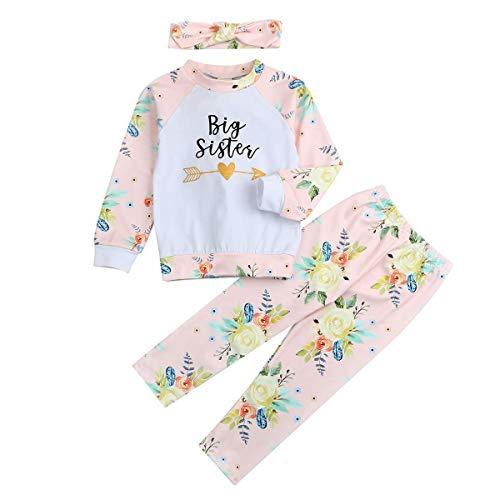 Baby Girl Little Sister Romper Floral Pants Big Sister T-Shirt Letter Bodysuit Sweatshirt 3Pcs Outfit Set (6T/7T, Big Sister)