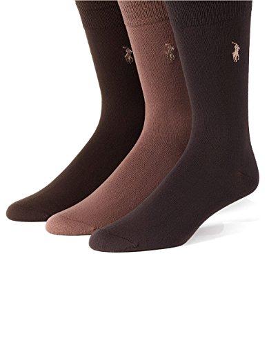 Polo Ralph Lauren Super Soft Crew Dress Socks 3-Pack, One (Lauren Brown)