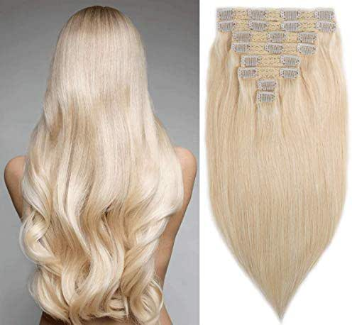 18 Inch Clip in Human Hair 130g Real Remy Hair Extensions Straight Human Hair 8 Pieces Full Head 20 Clips Doubles Weft for Women (613# Bleach Blonde)