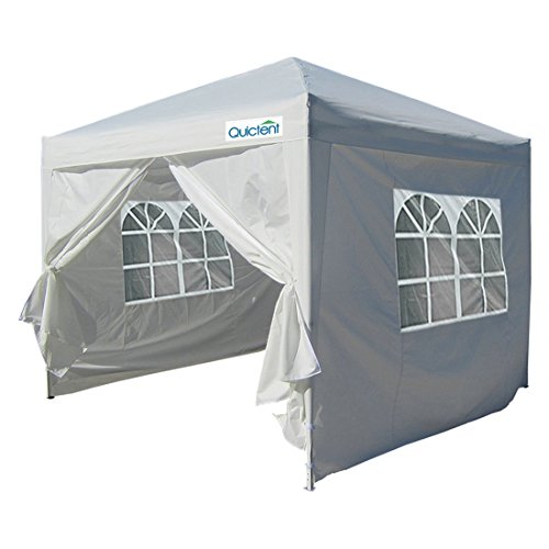 Quictent Silvox Waterproof 10x10' EZ Pop Up Canopy Multifunctional tent Camping tent /Party tent/Commercial tent Gazebo 8.7 ft height White Portable Style Removable Sides With Heavy Duty Bag
