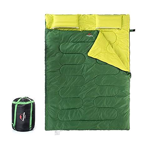 2 persona Camping saco de dormir doble algodón saco de dormir, verde: Amazon.es: Jardín