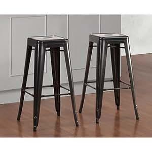 tabouret 30 inch 3503 30 121 charcoal grey metal bar stools set of 2 kitchen dining. Black Bedroom Furniture Sets. Home Design Ideas