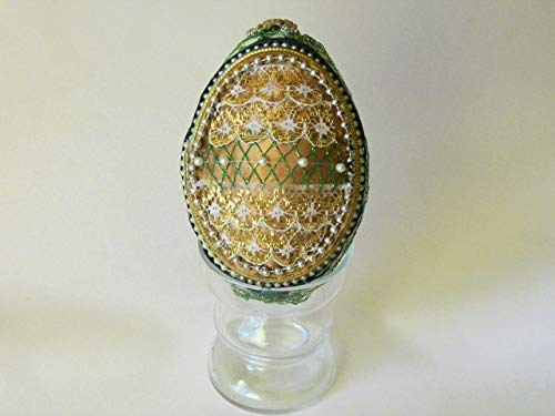 - Goose Egg Trinket Box Decorated with Gold and Green Fabric and Beads