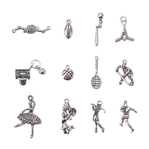 Sports Charms (Pandahall 200g (about 130pcs) Sports Tibetan Style Antique Silver Alloy Pendants, Lead Free & Nickel Free)