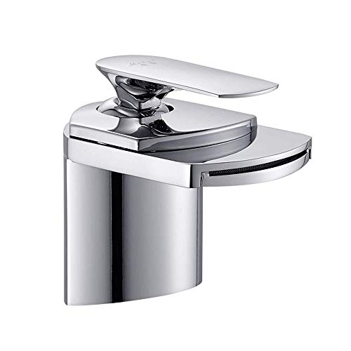 Copper main basin single hole hot and cold faucet wash basin above counter basin wash basin personality faucet waterfall Copper main body Wide mouth waterfall Personality design Variety of choices