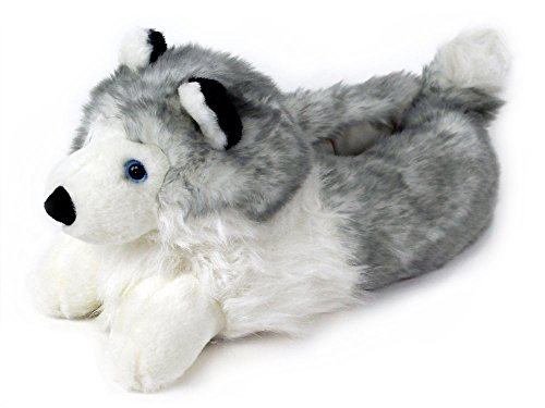 Husky Slippers - Plush Dog Animal Slippers -