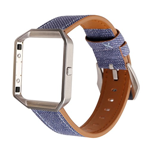 WONMILLE for Fitbit Blaze Accessory Band, Soft Leather Watch Band Wrist Strap with Steel Frame for Fitbit Blaze Smart Watch Bracelet (Denim Blue)