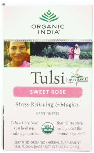 (Organic India Organic Tulsi Herbal Tea, Sweet Rose, 18 Tea Bags (Pack of 6))