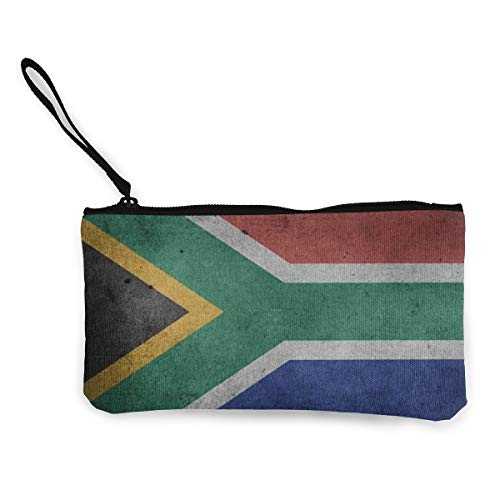 HMHYKYU South African Flag Women and Girls Cute Fashion Canvas Coin Purse Change Cash Bag Zipper Small Purse Wallets for Keychain Money Travel Pouches