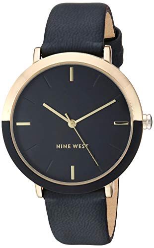 Nine West Women's Gold-Tone and Black Strap Watch, NW/2346GPBK